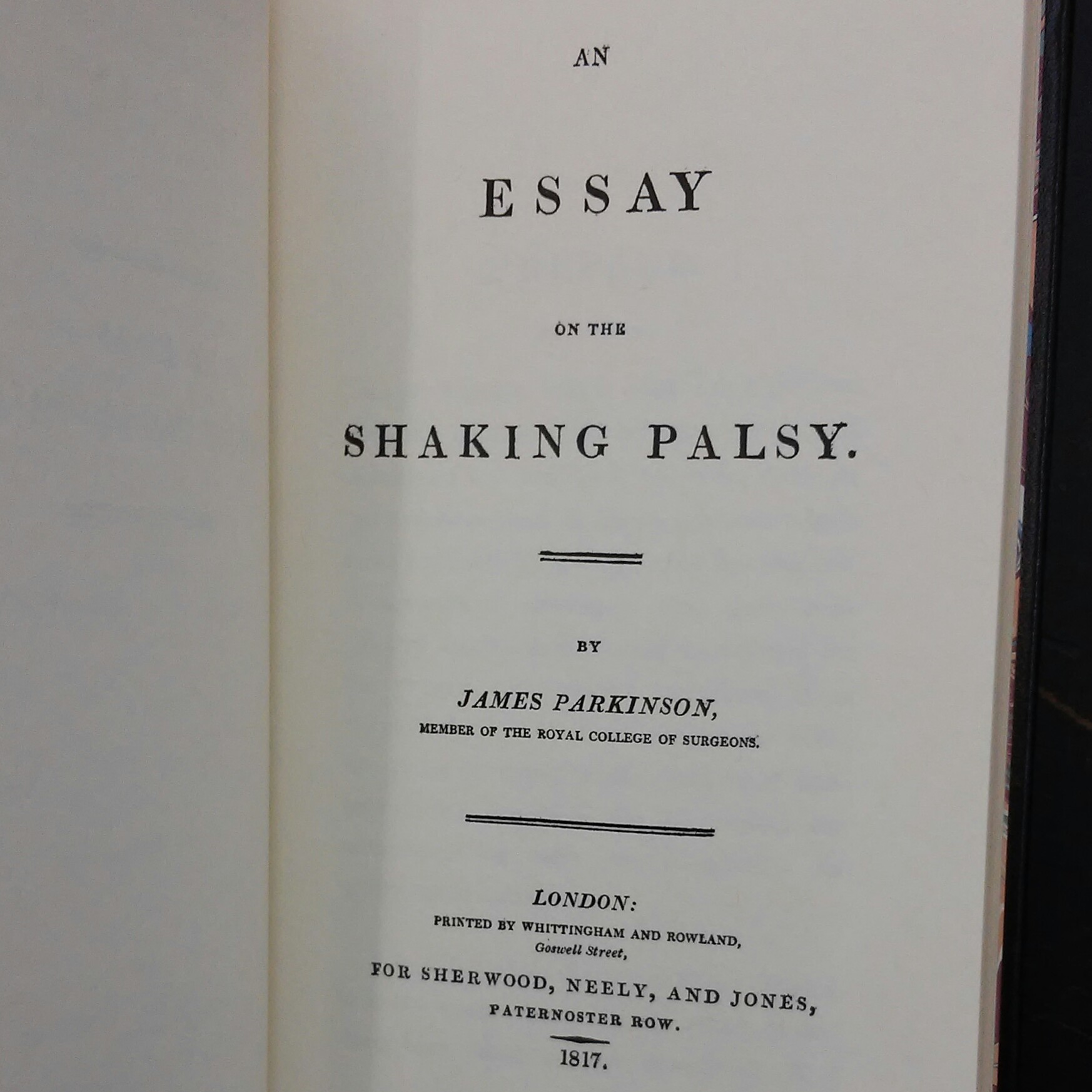 an essay on the shaking palsy An essay on the shaking palsy published in neuropsychiatry classics, journal of neuropsychiatry and clinical neuroscience, 14 (2), 2002 originally published as a monograph in 1817.